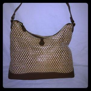 Etienne Aigner tan/brown woven purse